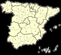 Poloha Valencie na mapě Španělska